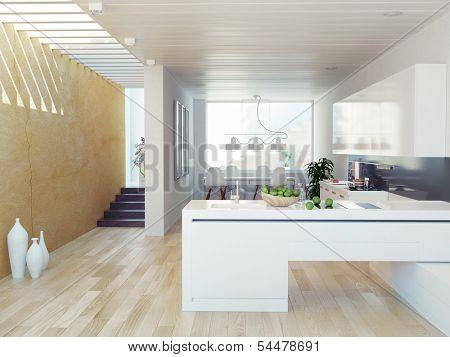 Luxurious kitchen interior.contemporary design concept