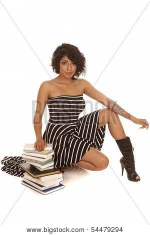 Hispanic Woman Books Sit Looking