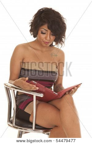 Hispanic Woman Sit With Tablet Serious