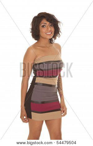 Hispanic Woman Stripe Dress Stand Smile