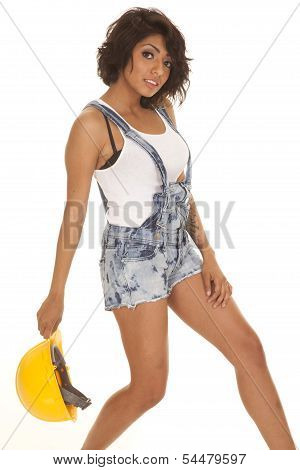 Woman Overalls Shorts Hard Hat Hold