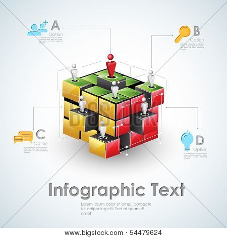 illustration of business infographics with human network