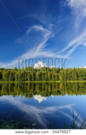 Beautiful river coast in the wild Karelian (Karjala) woods