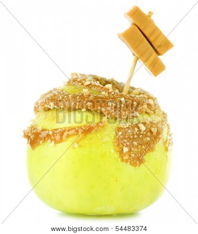 Homemade taffy apple, isolated on white