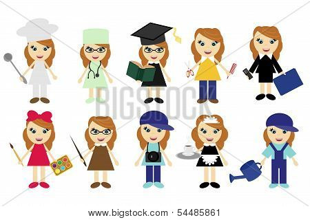 young women of ten different jobs