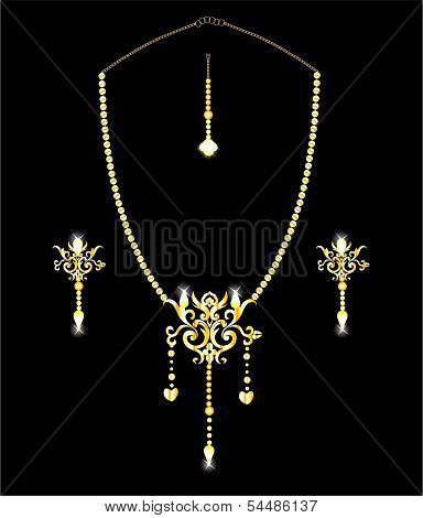 Indian ethnic Gold Jewelery - Necklace