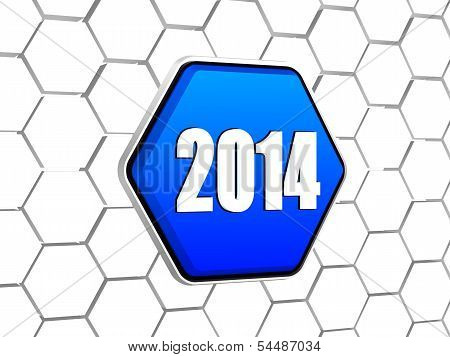 New Year 2014 On Blue Hexagon