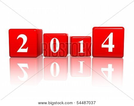 New Year 2014 In Red Cubes