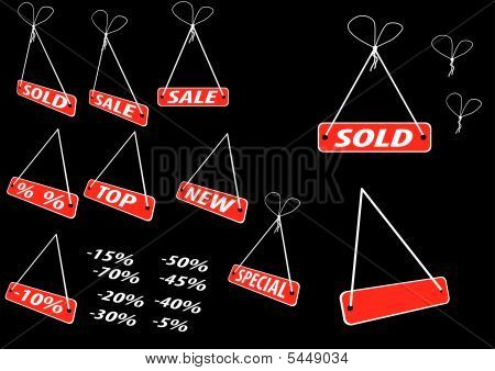 Set Of Red Advertising Tags