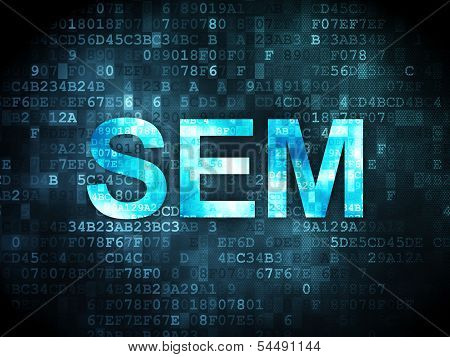 Business concept: SEM on digital background