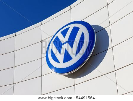 Samara, Russia - November 23: The Emblem Volkswagen On Blue Sky Background, November 23, 2013 In Sam