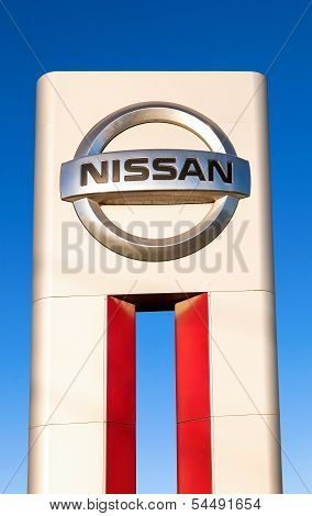 Samara, Russia - November 24: The Emblem Nissan On Blue Sky Background, November 24, 2013 In Samara,