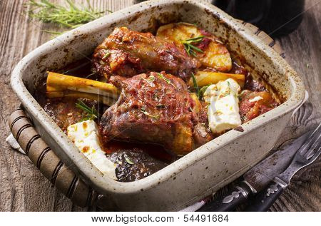 lamb knuckles with feta and eggplant