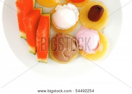 plate full of fruits and ice cream on white
