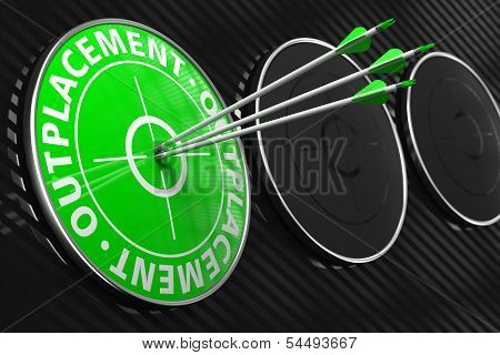 Outplacement Concept on Green Target.