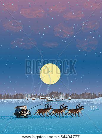 Santa Claus riding on reindeer sleigh through village