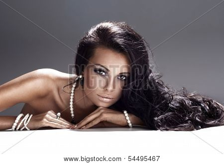 Portrait Of Attractive Brunette Lady.