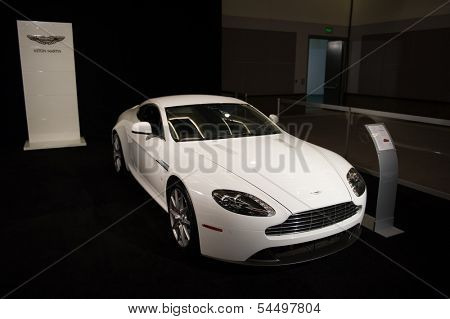 LOS ANGELES, CA - NOVEMBER 20: An Aston Martin Vantage on exhibit at the Los Angeles Auto Show in Los Angeles, CA on November 20, 2013