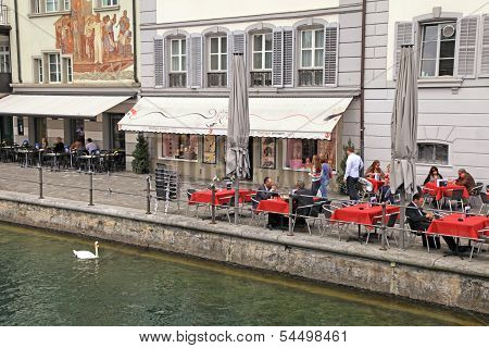 Outdoor Cafe In Lucerne,switzerland
