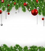 picture of fir  - Christmas background with fir twigs and red balls - JPG