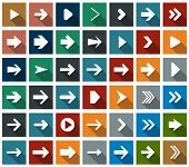 pic of arrowheads  - Vector illustration of plain square arrow icons - JPG