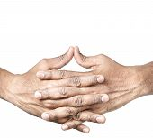 image of mudra  - Hands in Ushas mudra by Indian man isolated at white background - JPG