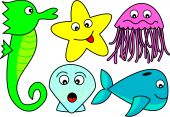 image of googly-eyes  - A collection of cute and colorful cartoon sea creatures  - JPG