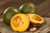 stock photo of flesh  - Peruvian fruit called Lucuma  - JPG