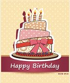 stock photo of cream cake  - Happy birthday card with Birthday cake - JPG