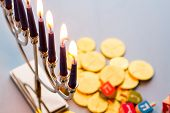 stock photo of dreidel  - A still life composed of elements of the Jewish Chanukah/Hanukkah festival.