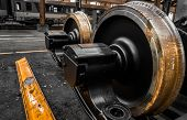 picture of ferrous metal  - New Locomotive Wheels In Vehicle Repair Station