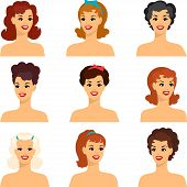 foto of 1950s style  - Collection of portraits beautiful pin up girls 1950s style - JPG