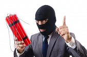stock photo of terrorist  - Terrorist with dynamite isolated on white - JPG