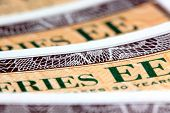 picture of treasury  - Closeup of United States Treasury Savings Bonds