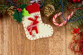 foto of shoe-box  - Christmas decorations and sock on wood background - JPG