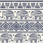 stock photo of indian elephant  - Ethnic elephant seamless pattern can be used as a greeting card - JPG