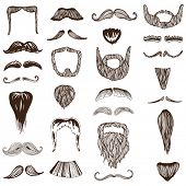 stock photo of bachelor party  - Set of hand drawn Moustache  - JPG