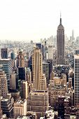 stock photo of empire state building  - New York City Manhattan skyline aerial view with Empire State building - JPG