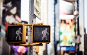 stock photo of traffic signal  - Keep walking New York traffic sign with illuminated and blurred background - JPG