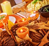 picture of centerpiece  - Closeup photo on beautiful autumnal still life for Thanksgiving day - JPG