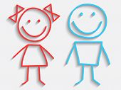 stock photo of boy girl shadow  - Vector Boy and Girl Icons - JPG