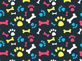 image of animal footprint  - Cool pet background with dog paw prints and bones - JPG