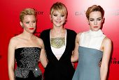 NEW YORK-NOV 20; (L-R) Elizabeth Banks, Jennifer Lawrence & Jena Malone attend