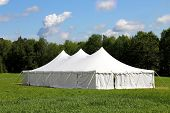 picture of canopy roof  - large white wedding or events tent in the green grass field - JPG
