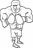 stock photo of pugilistic  - Black and White Cartoon Illustrations of Boxer Sportsman or Fighter for Coloring Book - JPG
