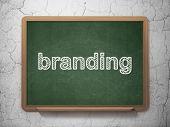 Marketing concept: Branding on chalkboard background poster