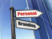 Marketing concept: sign Personal Branding on Building background