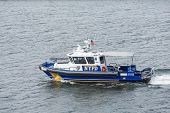 picture of nypd  - A New York City Police boat in New York harbor - JPG