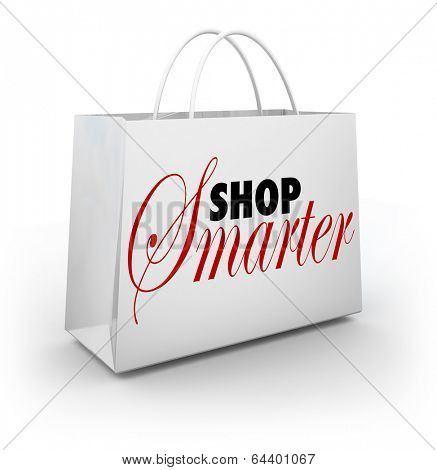 Shop Smarter Words Shopping Bag Best Prices Discount Bargain