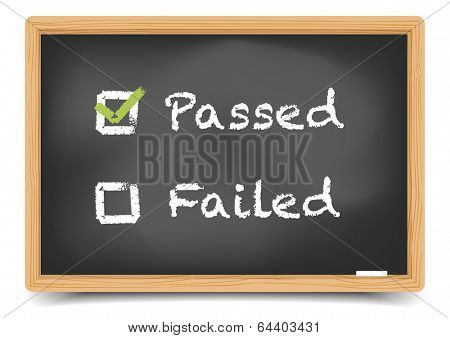 detailed illustration of checkboxes with passed and failed options on a blackboard, eps10 vector, gradient mesh included